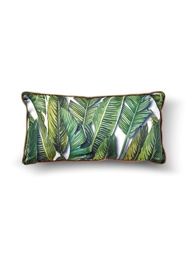 The Mia Tropik Yastık - Banana Palm Beyaz  40 x 20cm Renkli